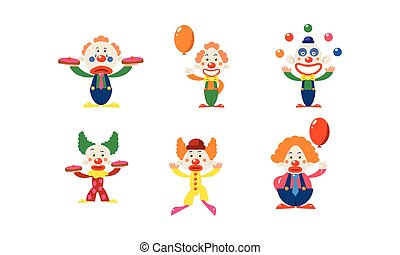 Flat vector set of clowns in different actions. Funny cartoon characters makeup on faces. Circus artists
