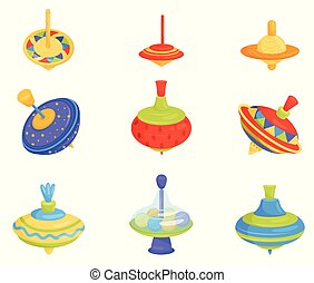 Flat vector set of colorful children whirligig toys. Wooden and plastic spinning tops