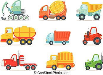 Flat vector set of colorful construction and cargo vehicles. Concrete mixing truck, large dumper, excavator, road working car, tractor and forklift