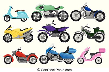 Flat vector set of colorful motorcycles and scooters. Vintage and fast sport bikes. Two-wheeled motor vehicles