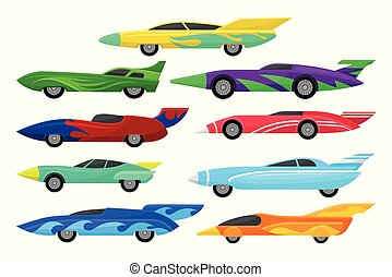Flat vector set of colorful racing cars. Vintage automobiles with spoilers. Extreme auto sport. Elements for mobile game