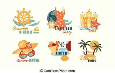 Set of colorful summer labels. Beach vacation theme. Icons with sand castle and sea star, sunglasses and hat, palm trees and ice-cream. Isolated flat vector elements for promo pasty flyer or postcard.