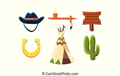 Set of colorful wild west elements. Cowboy s hat, horseshoe, peace pipe, wigwam, wooden sign and green cactus. Graphic objects for mobile game. Flat vector illustrations isolated on white background.