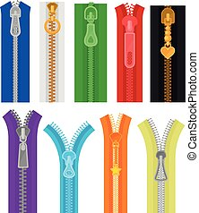 Flat vector set of colorful zippers for clothes and bags. Closed and open zip fasteners. Sewing materials