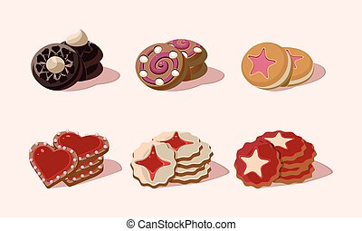 Flat vector set of cookies with different flavours. Delicious snack for breakfast. Sweet food. Graphic elements for bakery shop menu