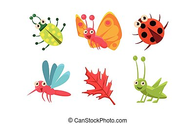 Flat vector set of cute insects and red leaf. Grasshopper,...
