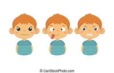 Flat vector set of cute little boy with various facial expressions. Crying kid, tongue out and angry emotion