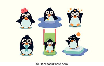 Flat vector set of cute penguin in different actions Funny...