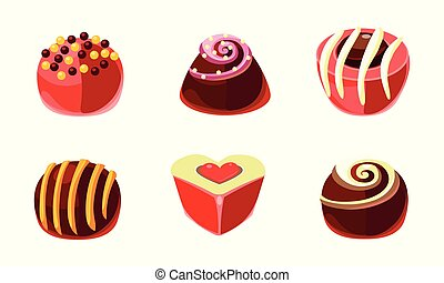 Flat vector set of delicious candies of different shapes. Tasty sweets with various filling