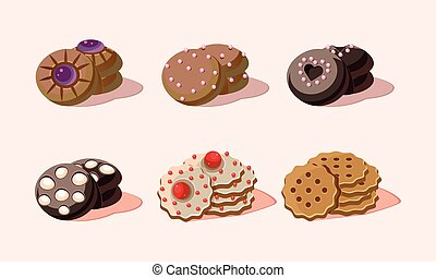 Flat vector set of delicious cookies with different decorations. Sweet snack. Tasty pastry product