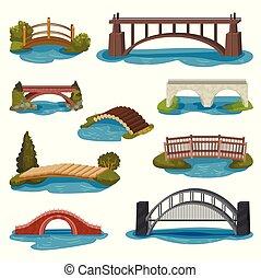 Flat vector set of different bridges. Wooden, metal and brick footbridges. Constructions for transportation. Architecture theme