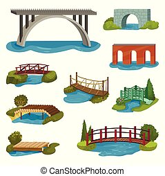 Flat vector set of different bridges. Wooden, metal, brick and stone footbridges. Constructions for city, backyard and park