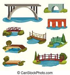 Flat vector set of different bridges. Wooden, metal, brick and stone footbridges. Constructions for city, backyard and park