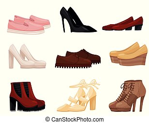 Flat vector set of different female shoes, side view. Trendy women footwear. Fashion theme