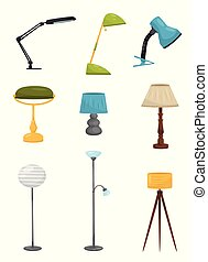 Flat vector set of different floor and desk lamps. Home decor elements. Lighting devices. Decorative interior objects