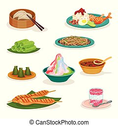 Flat vector set of different Malaysian dishes. Delicious...