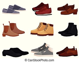 Flat vector set of different male and female shoes, side view. Casual and formal men footwear. Fashion theme