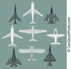 Flat vector set of different types of aircraft. Powerful fighter jets. Airplanes for transporting passengers or cargo. Aviation theme.