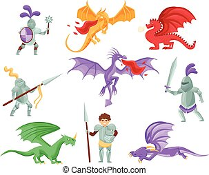 Flat vector set of dragons and medieval knights. Warriors in iron armor. Mythical monsters with large wings