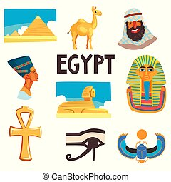 Flat vector set of Egyptian culture elements. Pyramids, camel, man in keffiyeh, Tutankhamen and Nefertiti, Great Sphinx of Giza, Ankh, eye of Horus and scarab beetle
