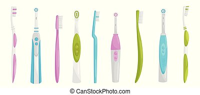 Flat vector set of electric and manual toothbrushes. Personal items for cleaning teeth. Health and oral hygiene theme