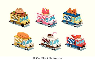 Flat vector set of food trucks. Cars with burger, ice-cream, bread, chicken legs and coffee on roof. Business on wheels. 3D style