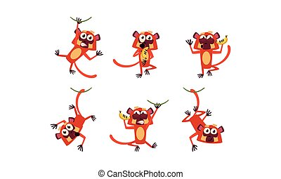 Flat vector set of funny brown lemur in different actions. Wild monkey with various emotions