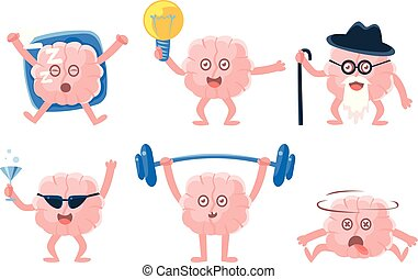 Flat vector set of funny humanized brains with arms and legs in different actions. Human internal organ. Stickers for social network