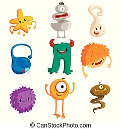 Flat vector set of funny little monsters. Cartoon fantastic creatures for children book, mobile game, print or postcard