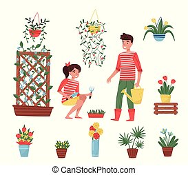 Flat vector set of garden elements. Different plants in ceramic pots, flowers in vases, cute boy and girl with garden tools
