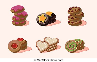 Flat vector set of home made cookies with different flavours. Sweet snack for breakfast or tea break