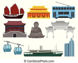 Flat vector set of Hong Kong travel elements. Traditional and modern Chinese building, statue of Big Buddha, popular transport