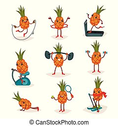 Flat vector set of humanized pineapple in different actions. Active workout. Cartoon character of tropical fruit