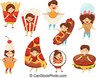 Flat vector set of kids in food costumes. Cute boys and girls with happy face expressions. Children in carnival outfit