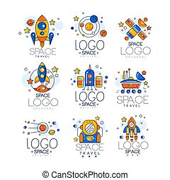 Flat vector set of linear space logo with colorful fill. Creative emblems with rocket, shuttle, alien saucer, astronaut, satellite, planets.