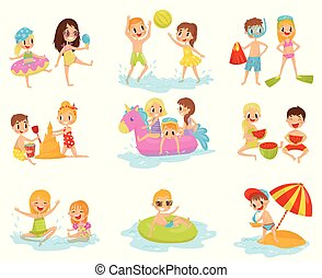 Flat vector set of little children in different actions. Playing with inflatable ball, building castle from sand, swimming on inflatable ring