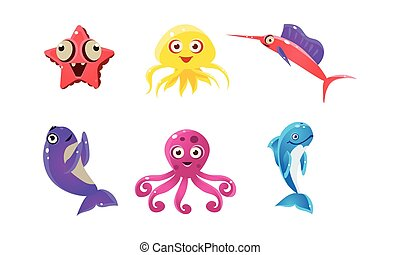 Flat vector set of marine animals with funny faces. Cartoon sea creatures. Underwater life theme