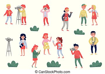 Flat vector set of media people. Professional journalists, photographers and cameramen at work. Official press reporters