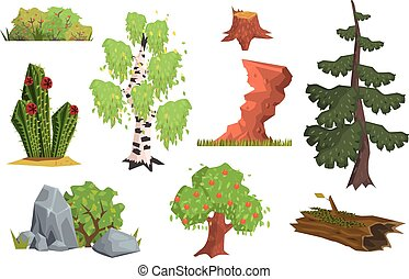 Flat vector set of nature elements. Apple tree, birch, cactus, bushes with berries, fir tree, stones, old stump, rock, log with moss. Cartoon design for gaming interface