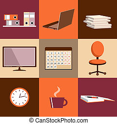 Flat vector set of office things, equipment, objects