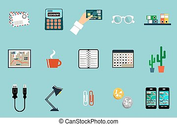 Flat vector set of office things, equipment, objects.