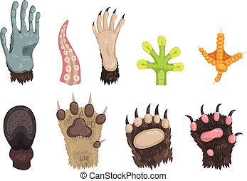 Flat vector set of paws of various animals dog, bear, cat, frog, monkey, chicken leg, horse hoof and tentacle of octopus