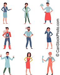Flat vector set of people different professions. Stewardess, doctor, chef, farmer, sailor, business woman, chemist, builder and teacher