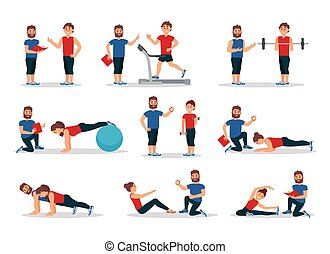 Flat vector set of people in gym with personal trainer. Men and women doing various exercises. Physical activity and healthy lifestyle