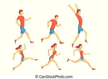 Flat vector set of people in running action. Professional athletes. Runners in sportswear. Active and healthy lifestyle