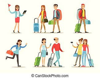 Flat vector set of people with travel bags. Tourist guide, couples with luggage, girlfriends making selfie, running fast woman. Vacation theme