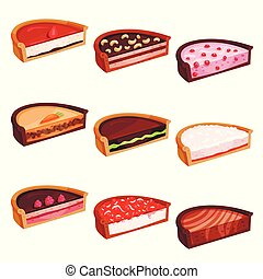 Flat vector set of pies halves with different flavours. Delicious and sweet dessert. Confectionery products
