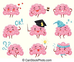 Flat vector set of pink humanized brains in different situations. Funny cartoon characters. Human organ