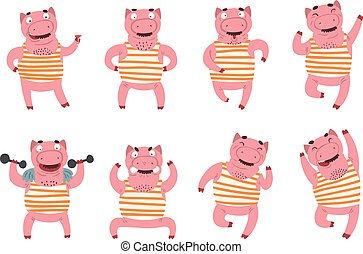 Flat vector set of pink humanized pig in different actions. Domestic animal with various emotions. Funny character in striped t-shirt