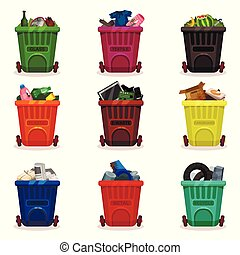 Flat vector set of plastic containers with different types of waste. Garbage bins with wheels. Icons related to trash sorting and recycling theme